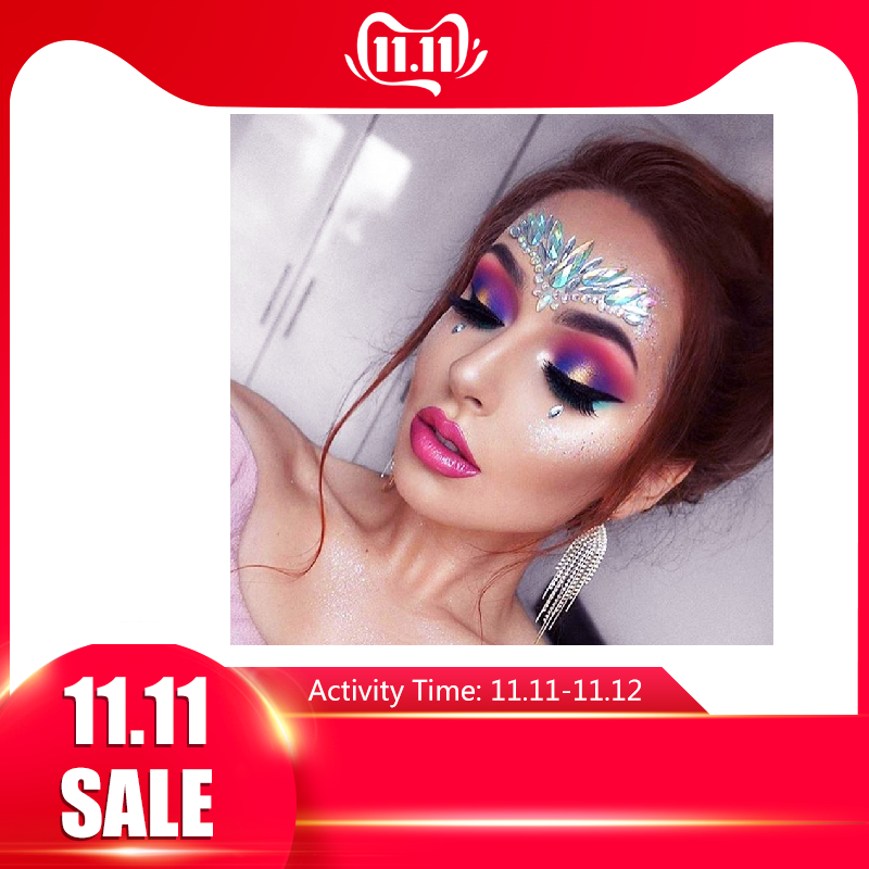 Temporary Rhinestone Face Tattoo Stickers Glitter Jewels Gems Body Jewels Flash Fake Temporary Tattoos For Festival Party Makeup