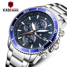 цена на KADEMAN Men Watch Top Luxury Brand Big Dial Sport Watches Mens Chronograph Quartz Wristwatch Date Male Clock Relogio Masculino