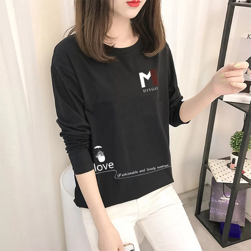 Summer T shirt Women Fashion Korea Style Print T shirt Long Short Sleeve O Neck Lady Tops Loose Tee Spring Autumn|T-Shirts|   - AliExpress