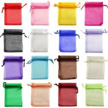 50 шт., мешочки из органзы для упаковки ювелирных изделий