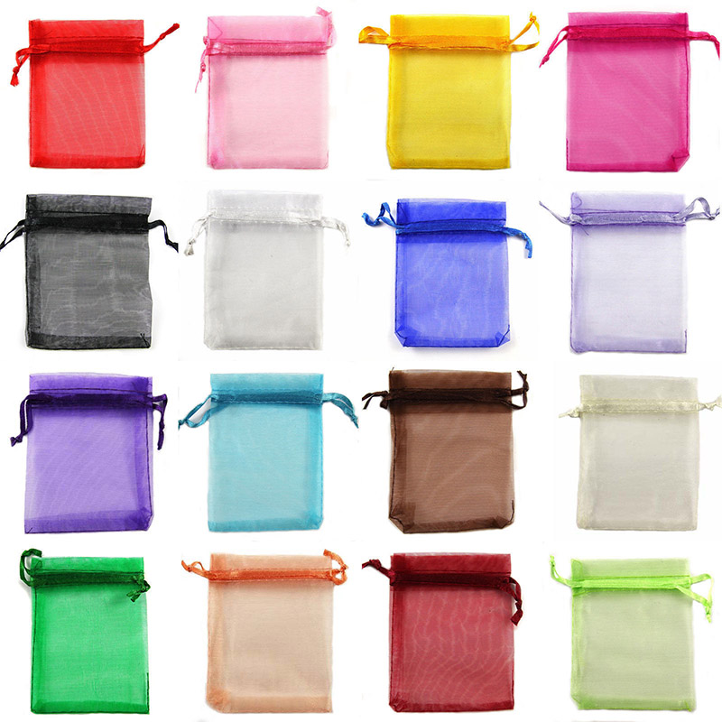 50Pcs Organza Bag Jewelry Packaging Gift Candy Wedding Party Goodie Packing Favors Pouches Drawable Bags Present Sweets Pouches(China)