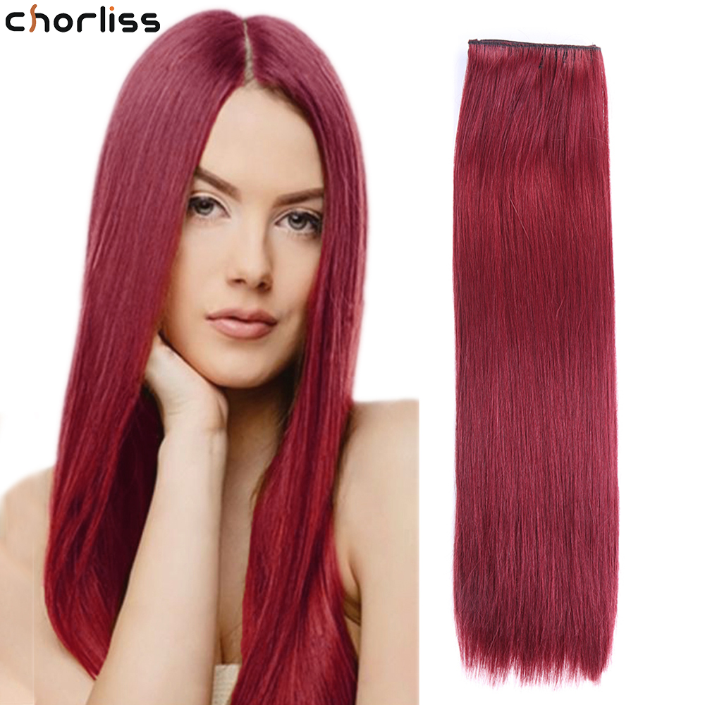 22Inch Long Straight Clip In Synthetic Hair 4pcs/set Hairpiece  Extensions High Temperature Fiber Clip-In Hairpieces For Women