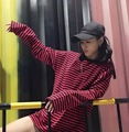 Early Autumn New Style Korean-style INS Cool CHIC-Style Black And White Stripes Loose-Fit Versatile Ultra-Long Sleeves T-shirt M