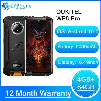 Перейти на Алиэкспресс и купить NFC Android 10 IP68 прочный спортивный телефон мобильный 6,49 ''отпечаток пальца 4 Гб 64 Гб 5000 мАч 16MP Тройная камера OUKITEL WP8 Pro