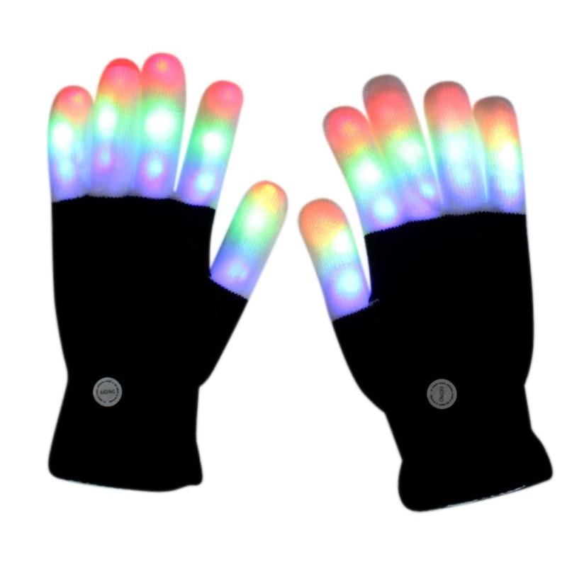 1 Pair LED 7 Model Rave Flashing Gloves Glow Light Up Finger Lighting Party Kids