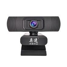 ASHU веб-камера, USB веб-камера, цифровая Full HD 1080P Веб-камера, веб-камера с микрофоном, клипса на 2,0 мегапикселя, CMOS, камера для ПК, для ноутбука