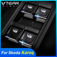Vtear for Skoda Karoq door window lift button switch sequin interior mouldings ABS car styling trim cover accessories auto 2018