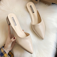 Trendy New Summer Slippers Classic Slip On Leather Womens Slippers Outdoor Sexy Pointed Toe Mules Shoes Women Black Beige Green
