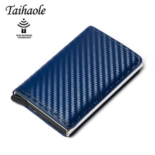 New Carbon Fiber Card Holder Wallets Men Brand Rfid Black Magic Trifold Leather Slim Mini Wallet Small Money Bag Male Purses