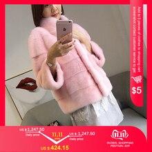 2018 inverno novo estilo de pele gato natural mlnk gola boa qualidade mlnk casaco de pele 60 cm longos casacos de pele moda fina pele