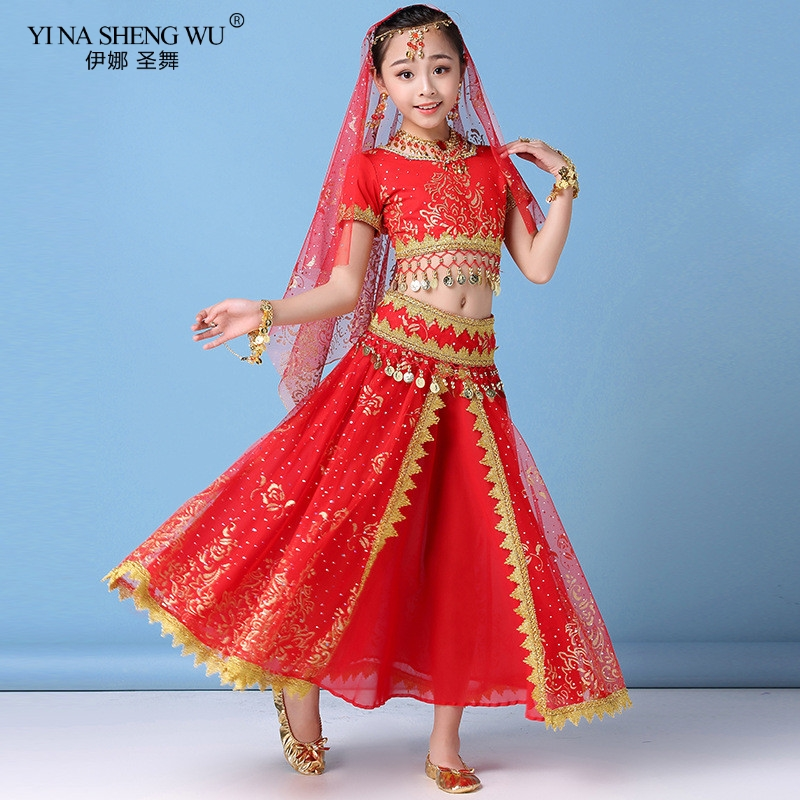 New Style <font><b>Kids</b></font> Belly Dance <font><b>Indian</b></font> Dance Costume Set <font><b>Sari</b></font> Bollywood Children Outfit Chiffon Belly Dance Performance Clothes Sets image
