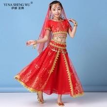 Novo estilo crianças dança do ventre indiano traje conjunto sari bollywood crianças roupa chiffon dança do ventre desempenho conjuntos de roupas