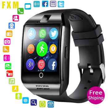 Q18 Bluetooth Smart Watch With Camera Support SIM TF Card Pedometer Men Women Call Sport Smartwatch For Android Phone PK T8 DZ09 bangwei smartwatch men casual fashion rubber strap smart watch women men sport pedometer led stopwatch support sim make call box