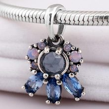 Original Patterns of Frost With Blue Crystal Necklace Pendant Fit 925 Sterling Silver Bead Charm Bracelet Diy Jewelry