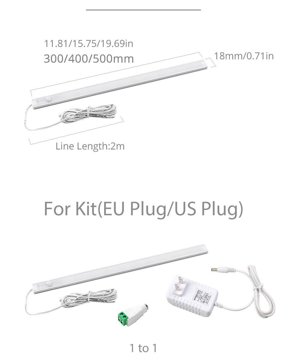 PIR 12V DC Aluminnum LED Under Cabinet Lights BodyLight Sensor Light Kitchen Wardrobe Night Lighting Cabinet Lamps (9)