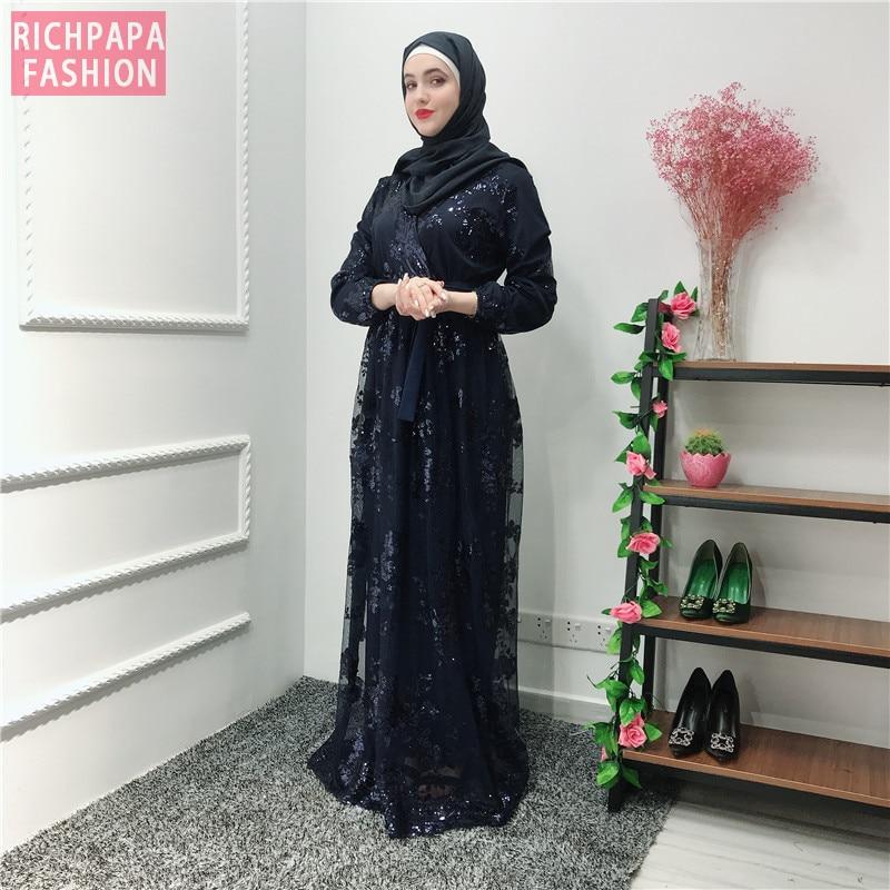 Image 4 - Рамадан блесток кружевная Абая Дубай, Турция Ислам Мусульманский хиджаб платье Кафтан Абая для женщин Jilbab Caftan одежда Qatar Elbise RobeМусульманская одежда    АлиЭкспресс