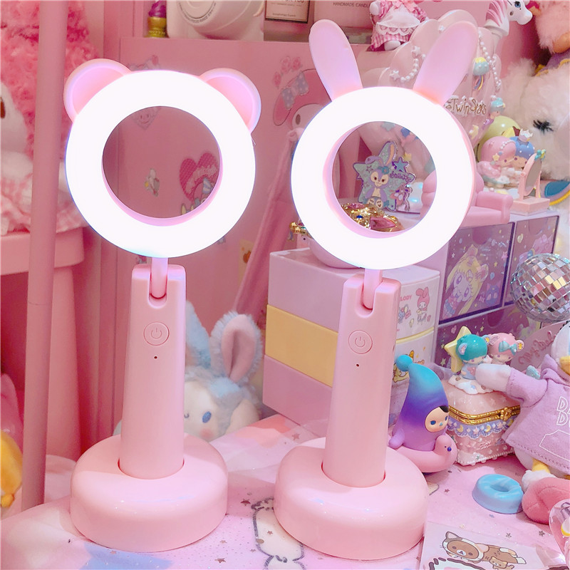 Lovely Pink Animal Bear Rabbit 3 Colors Night Light Lamp For Kids Study Gifts