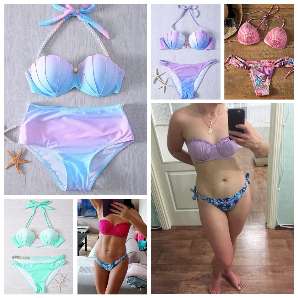ARXIPA 2020 New Low Waisted Swimsuit Halter Shell Mermaid Swimwear Women Scalloped Bikini Set Bathing Suits Beachwear Swim Suit 1