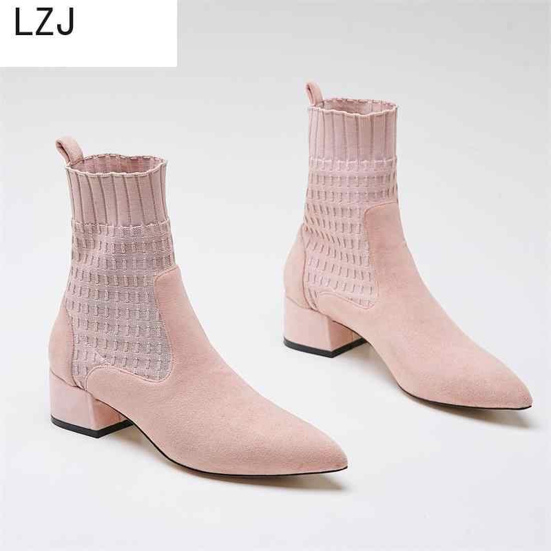 LZJ sivri kadın botları ayak iplik elastik kalın topuk yüksek topuklu ayakkabılar kadın kadın çorap örme yarım çizmeler pembe ayakkabı siyah