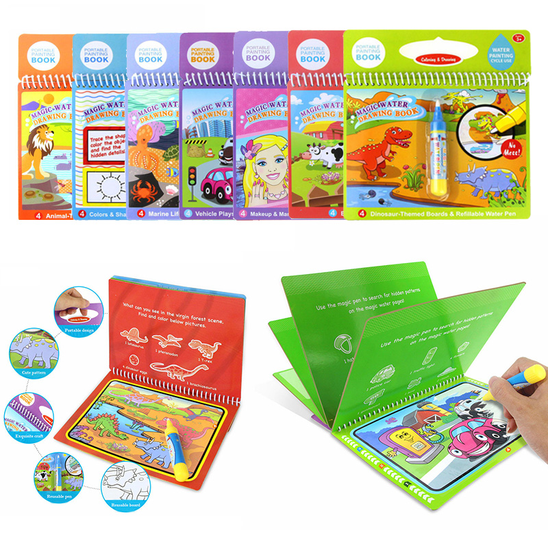 Reusable Magic Water Drawing Book Coloring Doodle & Pen Painting Board For Kids Educational Toy Birthday Gift
