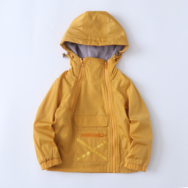 Spring Autumn Hooded Cotton Child Coat Print Baby Boys Jackets Children Outerwear Zipper Large Pocket For Height of 90-135cm