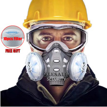 2020 Stofmasker Gasmasker Met Veiligheidsbril Dual Filters Volgelaatsmasker Winddicht Voor Timmerman Builder Polijsten Stofdicht