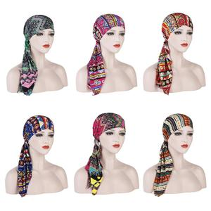 Image 2 - ผู้หญิงยืดBonnetมุสลิมTurbanหมวกBeanie Skullies Headscarf Wrap Chemo Ladyผ้าพันคอหมวกอิสลามหมวกสูญเสียผม