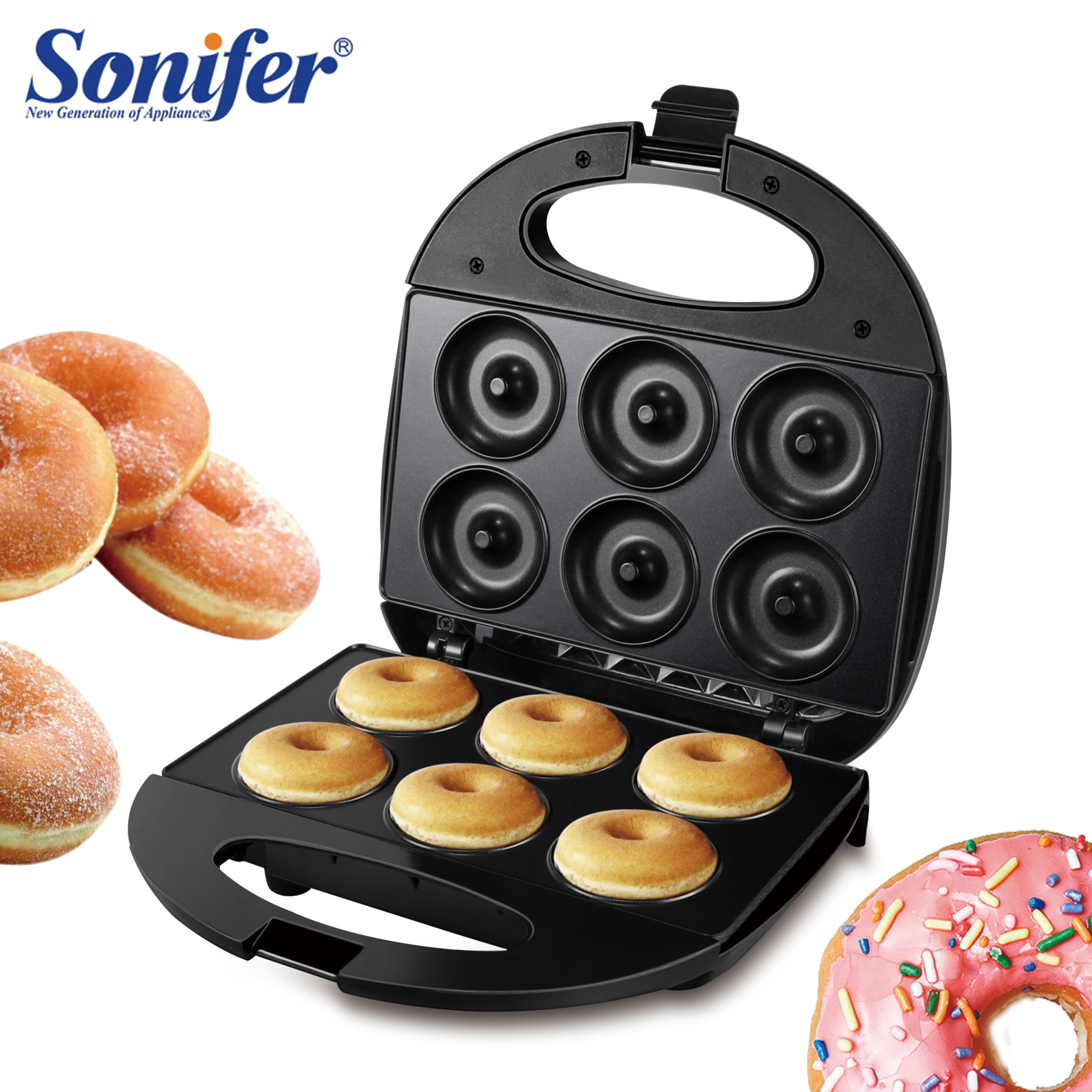 750W DIY Donut Maker Doughnut Machine Party Dessert Bakeware Electric Baking Pan Non-stick Double-sided Heating 220V Sonifer