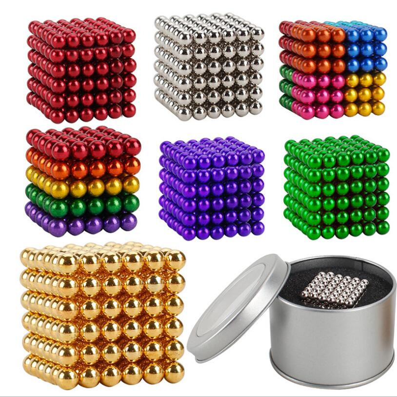 Decompression Toys 3mm Balls NEO Magnetic Magnet Sphere 216pcs/set Magnets With Metal Box Magic Strong Blocks Ball Funny Toys Cu