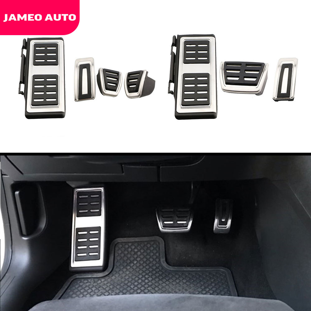 Jameo Auto Stainless Steel Car Pedals for Volkswagen VW Golf GTI Passat B8 Polo A05 6C GP Fuel Brake Pedal Rest Foot Pedal Cover