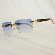Retro Oversized Square Sunglasses Raw Impression Buffalo Hor