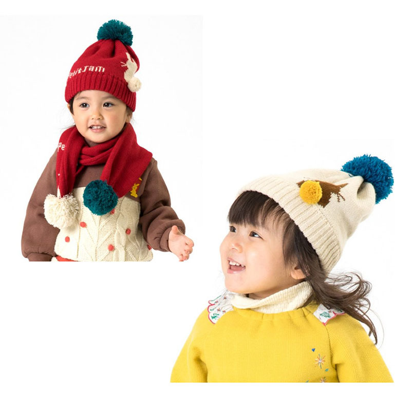 Children Knitted Hat Cocoinkids New Style Children Cap Christmas Rabbit-Hat Scarf Two-Piece Set