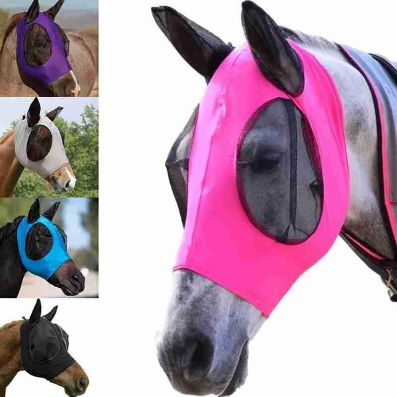 Маска для защиты от мух, маска для коня, эластичная Регулируемая Маска для мухи, дышащая удобная маска для защиты от мух, маска для лошади