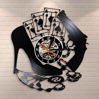 High Heel Gun Poker Gambling Winning Wall Clock Las Vegas Vinyl Record Wall Clock Poker Logo Wall Sign Chips 4 Aces Wall Watch image
