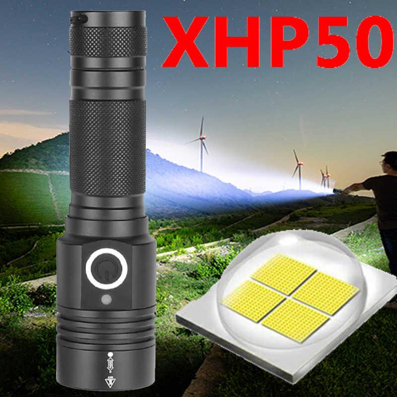 Xhp50 led פנס usb טעינה למתוח זום הלם עמיד 18650 נטענת פנס לפיד חזק מגנטי זנב Z90 + 1474