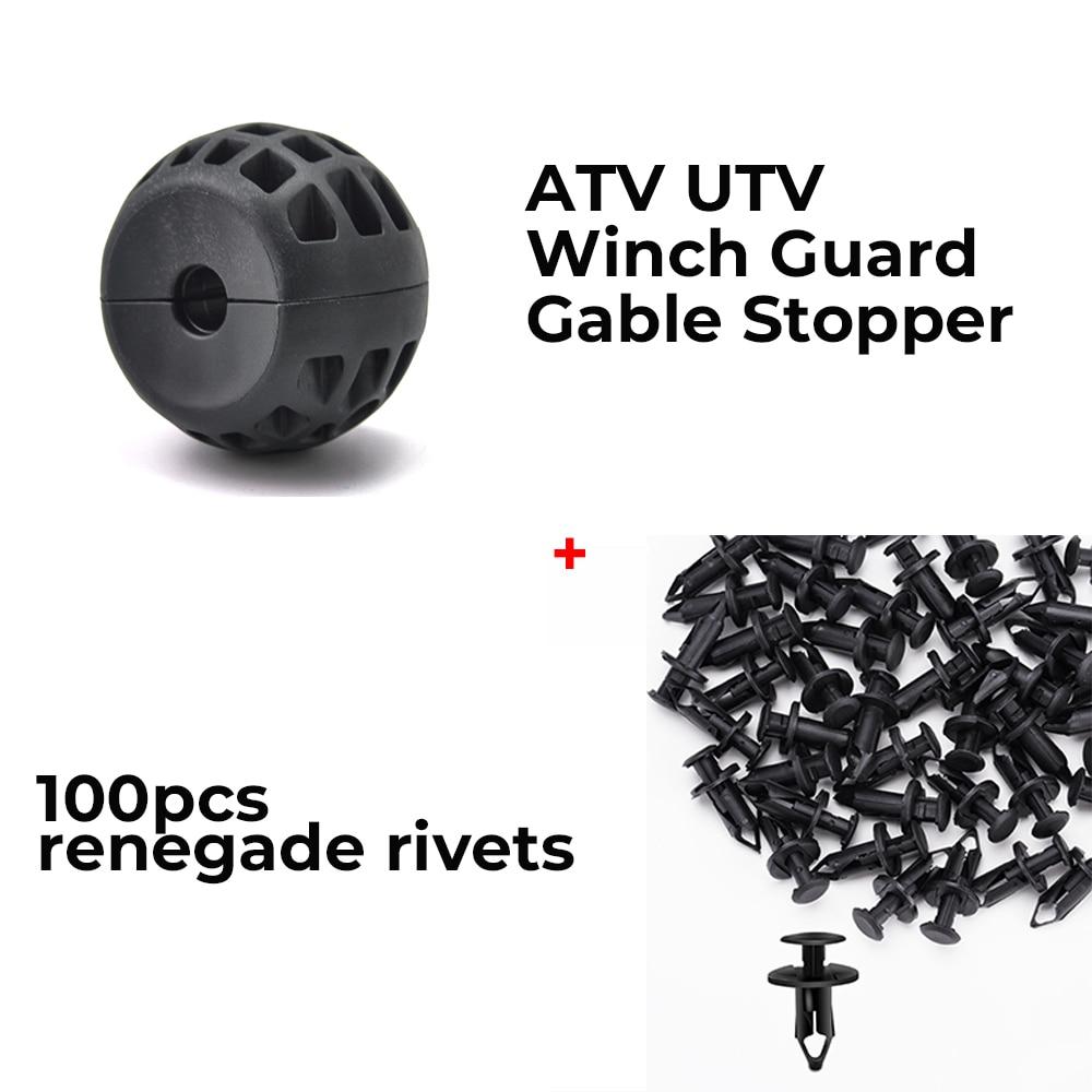 ATV UTV Winch Guard Cable Stop + Renegade Rivets 100 Pack For Can Am Maverick Commander Outlander For John Deere Gator TX