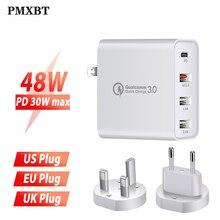 48 ワットマルチ Usb PD サムスンの Iphone 11 Huawei 社ラップトップ qc 3.0 高速壁 USB 電源の充電器米国 EU 英国プラグタイプ C USB アダプタ
