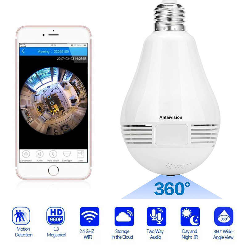 360 Degree Bulb Camera Security Mini Wireless Lamp WIFI IP Cameras Fisheye Panoramic Bulb HD 960P WIFI Network Remote Monitor