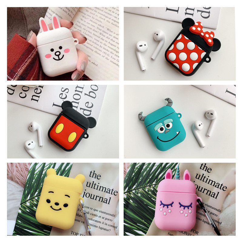 For Airpods 2 Case Silicone Minnie Cartoon Cover for Apple Air pods Cute Bluetooth Earphone Case for Earpods Accessories