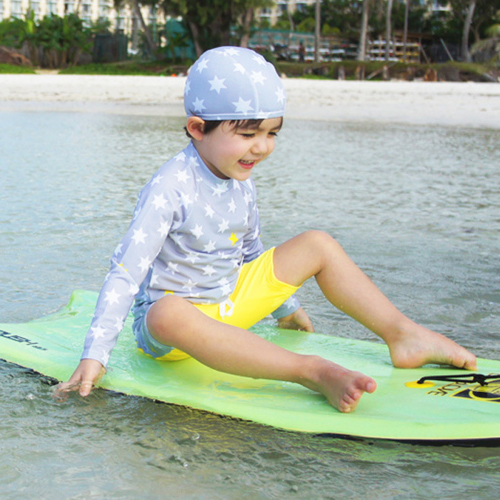 Long Sleeve Sun-resistant CHILDREN'S Swimwear BOY'S Split Type Boxers Boy Big Boy Hooded Swimwear