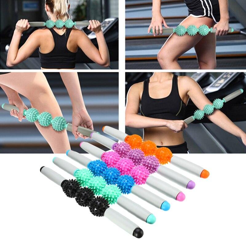 Палка для йоги, тело, тренажерный зал, массажный ролик для мышц, массаж тела, расслабляющий инструмент, мышечные роликовые палочки с 3 точкам...