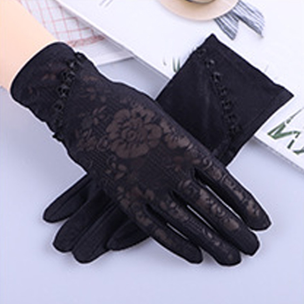 2020 Sexy Spring Summer Women Autumn UV Sunscreen Short Sun Gloves Fashion Ice Silk Lace Driving Of Thin Touch Screen Gloves