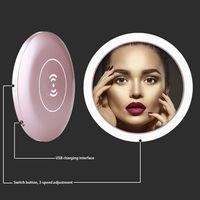 Wireless USB Charge LED Light Mini Circular Makeup Mirror Travel Cosmetic Mirror 11UF