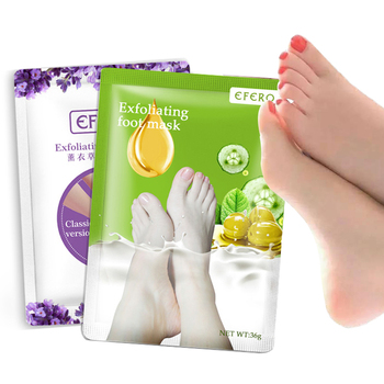 efero 7pair Whitening Feet Mask Lavender Exfoliating Foot Mask Peeling Dead Skin Calluses Foot Patch Socks for Pedicure недорого
