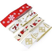 2Yard Gold Silver Star Snowflake Xmas Tree Pattern Christmas Ribbon DIY Handmade Craft Party Gift Wrapping Decoration