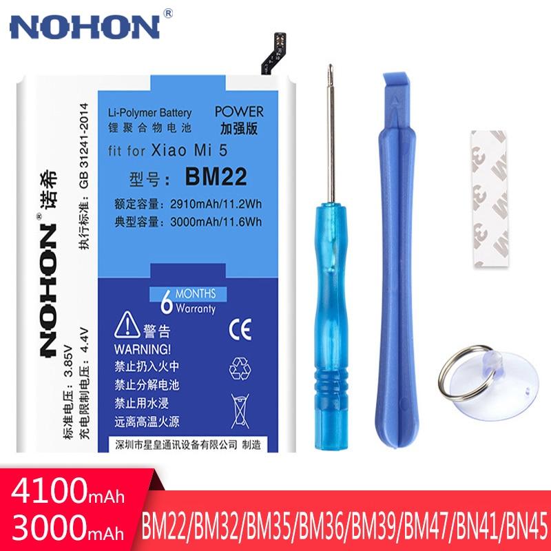 NOHON BM22 BM35 BM36 BM39 BM47 BN41 BN45 BM32 Battery For Xiaomi Mi 5 6 4 4C 5S Redmi 3X Note 4 5 Replacement Bateria Free Tools