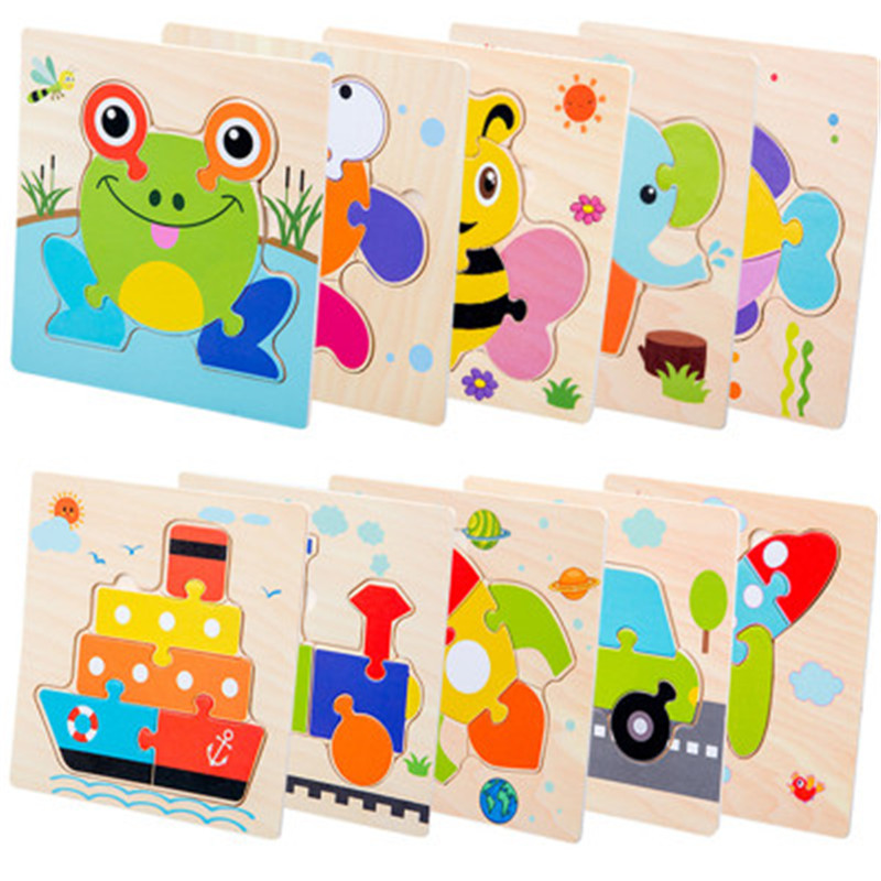 Baby Toys Wooden Puzzle Cute Cartoon Animal Intelligence Kid Early Educational Gift Brain Teaser Child Tangram Shape Jigsaw Gift