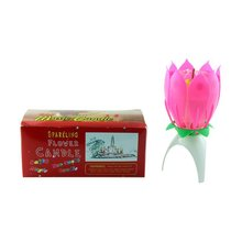 Fashion Lotus Flower Festival Birthday Cake Decorative Music Candles Fashion Modeling Automatic Flowering No Pollution