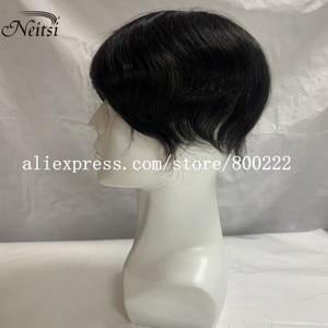 "Image 5 - Neitsi רמי קלטת שיער טבעי הרחבות זוגי Drawn ישר דבק בלתי נראה שיער 20 ""50 גרם אפור צבע"