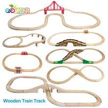Juego de vías de tren de madera para niños, juguete de vías de vía férrea de madera, DIY, accesorios de carretera, regalo para niños, Compatible con Tomas y amigos